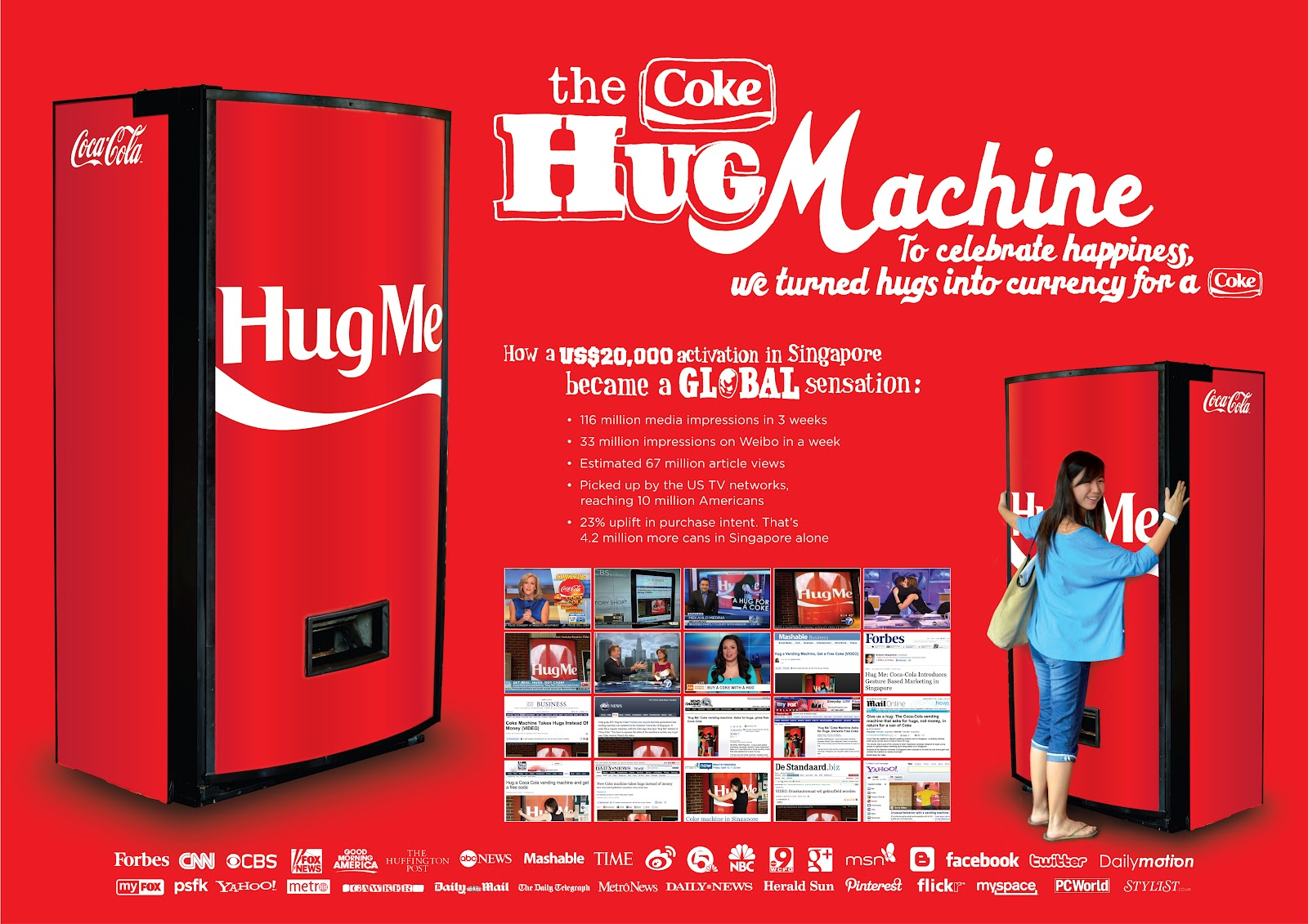 5. There's a 'Hug Me' Coca-Cola machine in Singapore