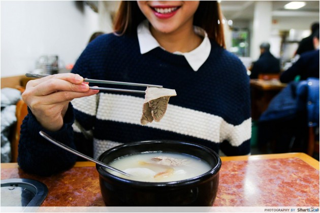 The Smart Local - Kimberly enjoying her soup at Imun Seolleongtang Korea