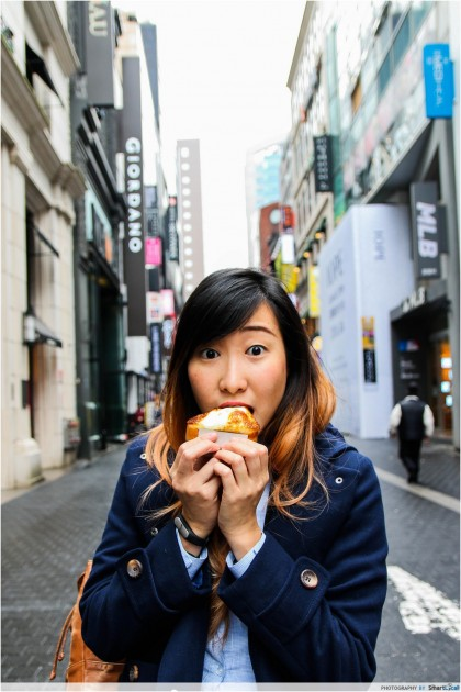 The Smart Local - Kimberly eating on the streets of Myeong-dong