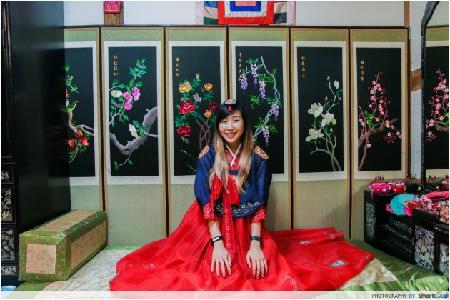 The Smart Local - Kimberly dressed in a traditional hanbok at the Seoul Cultural Experience Center