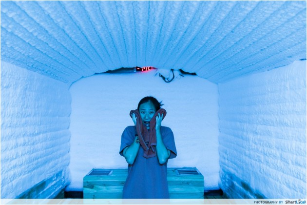 The Smart Local - Michelle in the Jjimjilbang ice room sauna