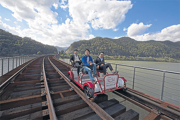 The Smart Local - Biking at Mugunghwa train tracks with friend