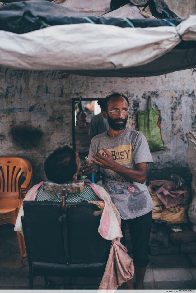 Amritsar alleyway barber shop
