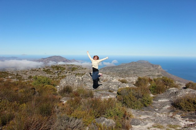 Jumping for joy at the Table Mountain Top