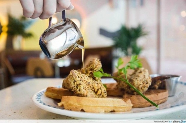 Overeasy cafe Waffles and Breaded Wings