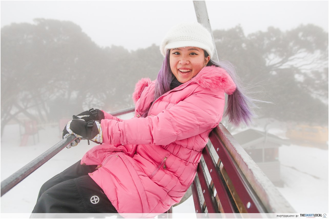 Cheryl on Melbourne Ski Resort Chairlift