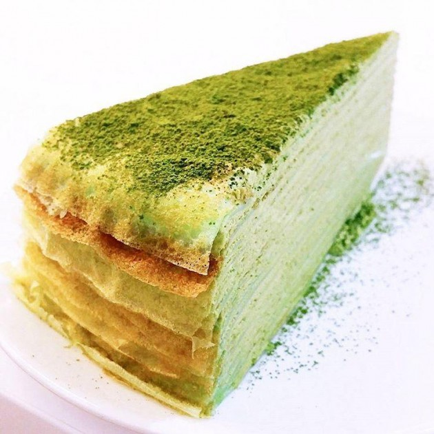 Hasu Confections, Green Tea Mille Crepe