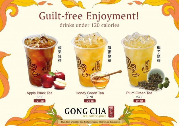 gong cha singapore - drinks under 120 calories