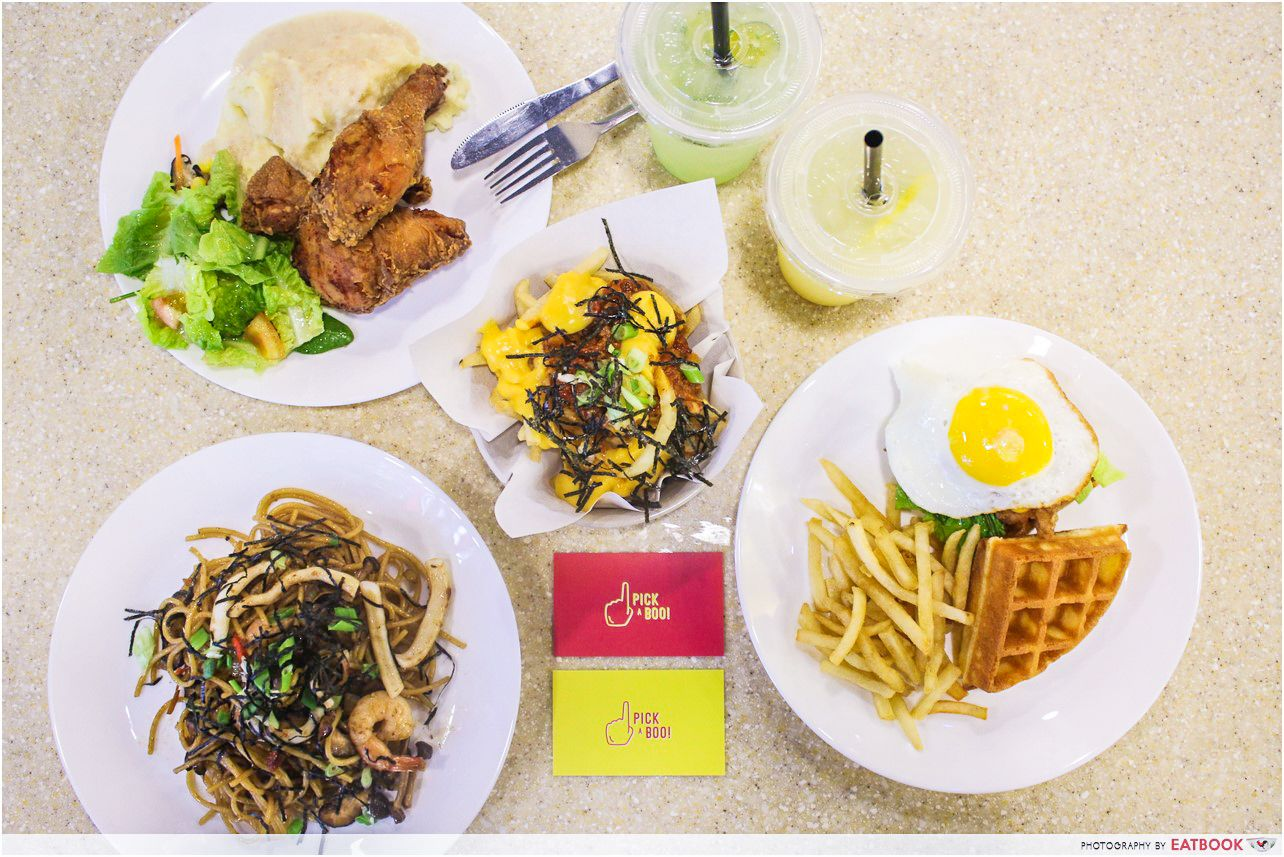 Pick A Boo, Teriyaki Seafood Aglio Olio, Dirty Fries, Waffles & Ice Cream