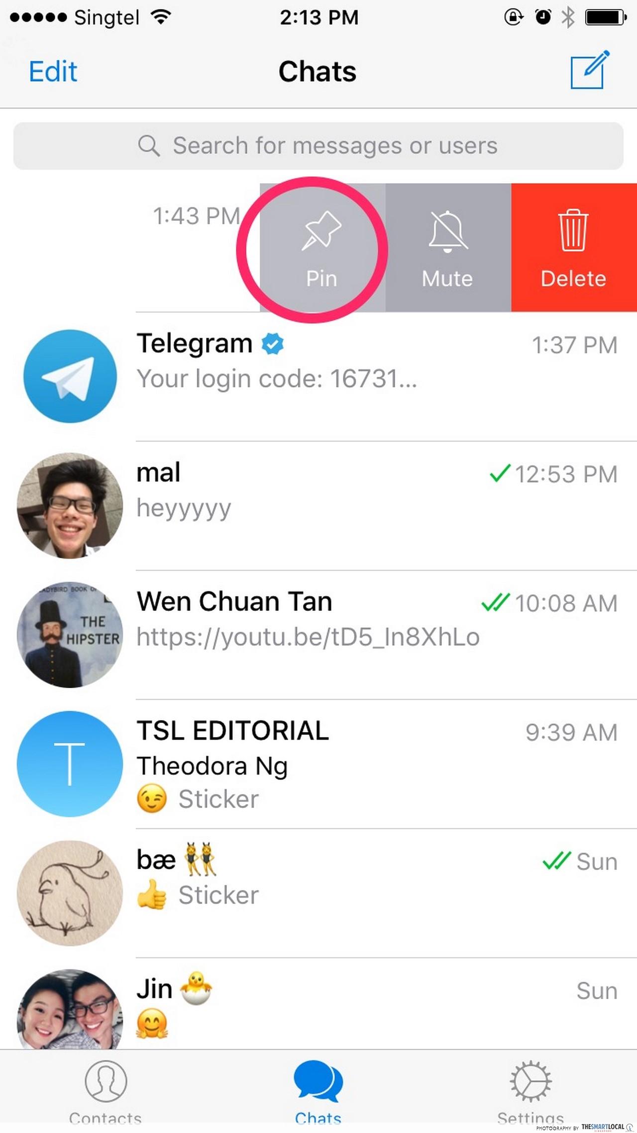 Как сделать pinned в телеграмме