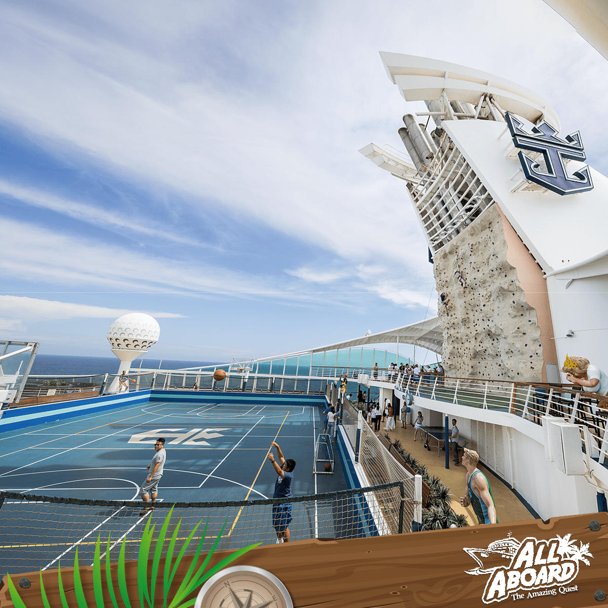 Fun deck activities on the Mariner of the Seas like rock-climbing and basketball!