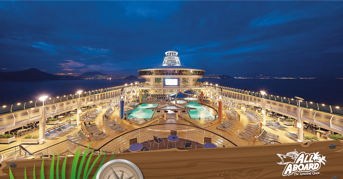 Have a romantic night out under the stars on the Royal Mariner of the Seas with All Aboard The Amazing Quest Cruise!