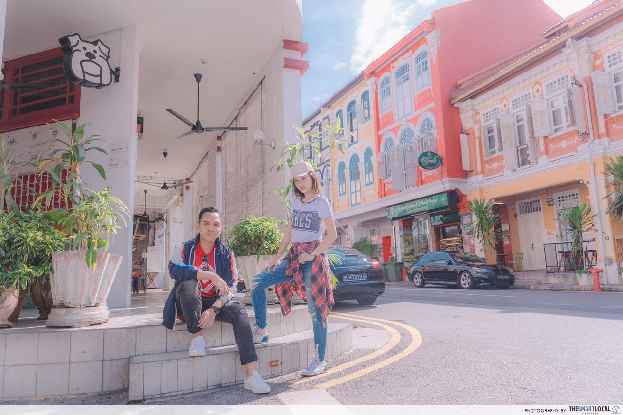 TSL X AEO sporting a street style on the facade of Potato Head building.