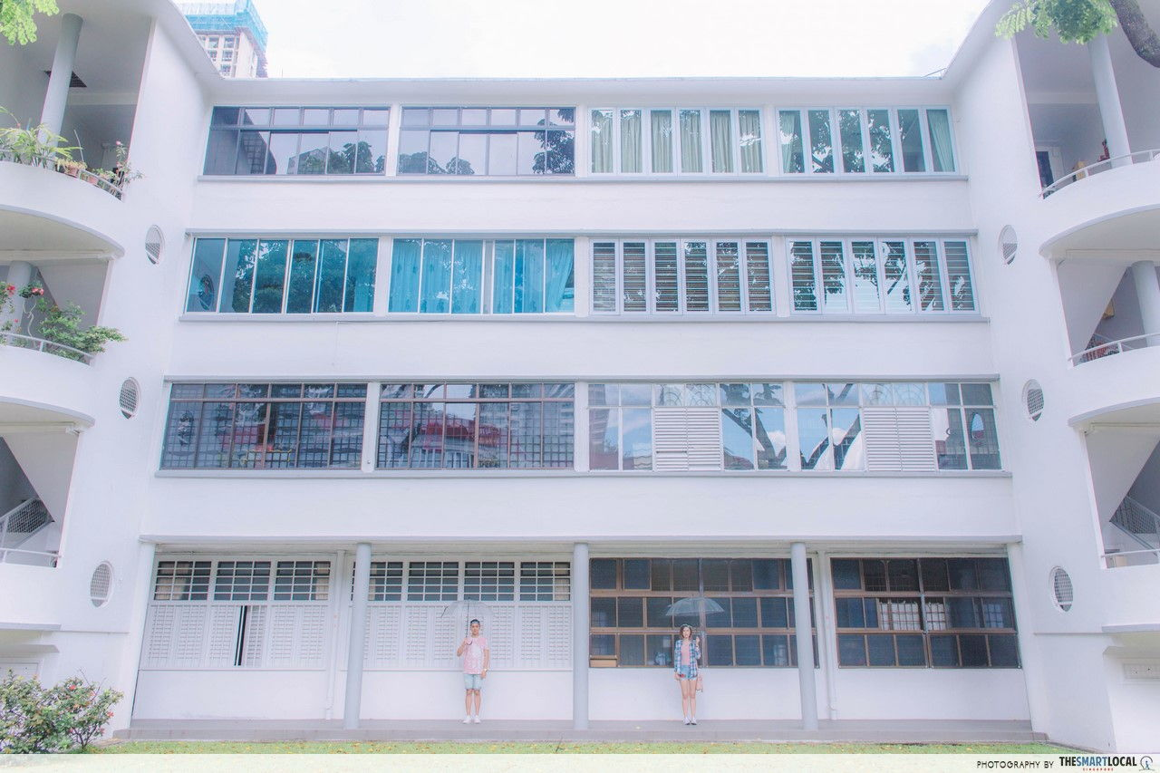 Wide angle shot of the HDBs along Moh Guan Terrace