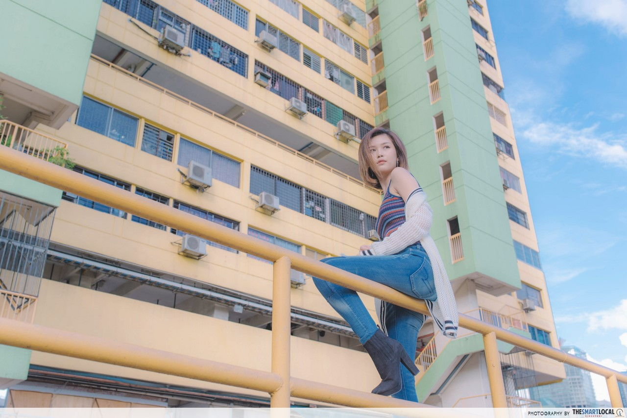 TSL X AEO Retro Grunge Women's Look at People's Park Complex Rooftop.