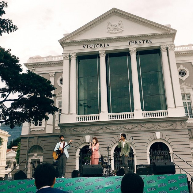 Enjoy local music in front of the Victoria Theatre and Concert Hall