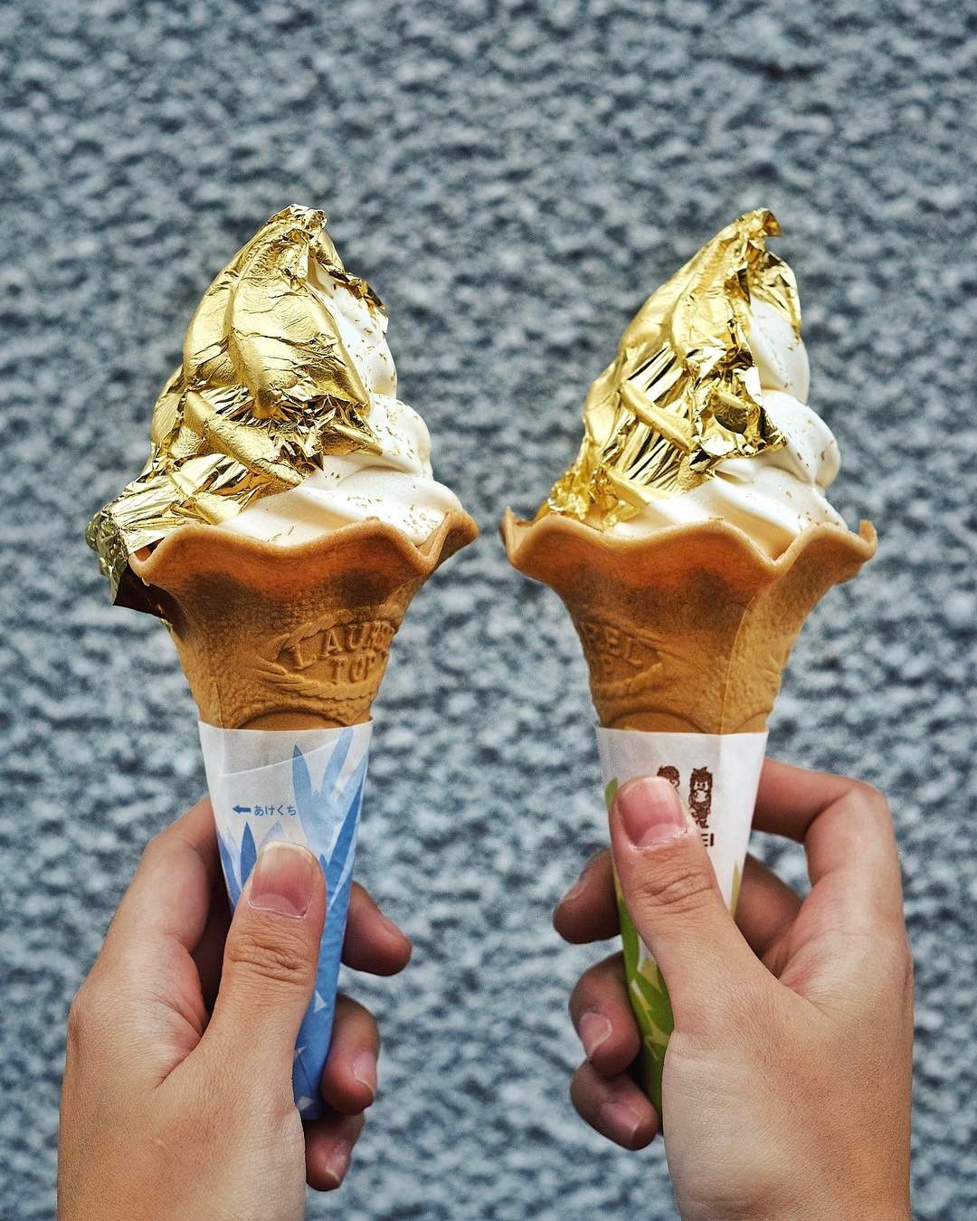 Gold leaf soft serve at Hakuichi