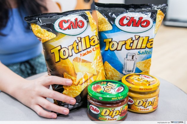 Chio Salted Tortillas 125g ($2.95), Hot Cheese Dip 200g ($3.95)