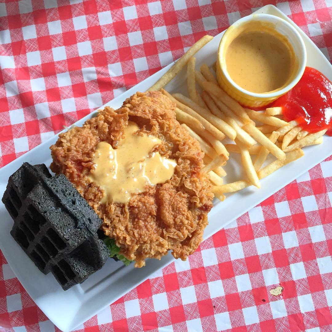 Salted Egg Fried Chicken Burger at Wowffle Burger.