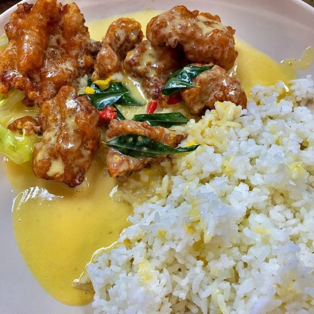 New Station Snack Bar Salted Egg Pork Ribs Rice