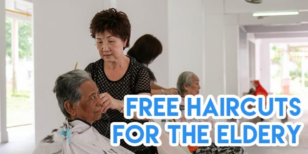 Mdm Zhang giving free haircuts to elderly residents