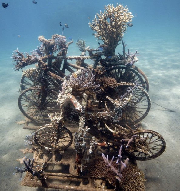 bali living sculpture underwater artificial reef diving artwork bicycle