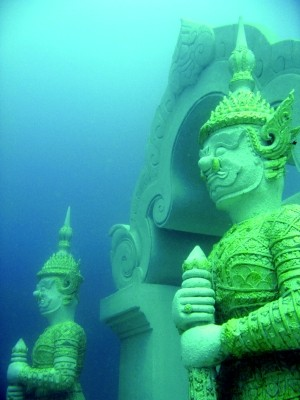 phuket diving park traditional demon arches underwater sculpture