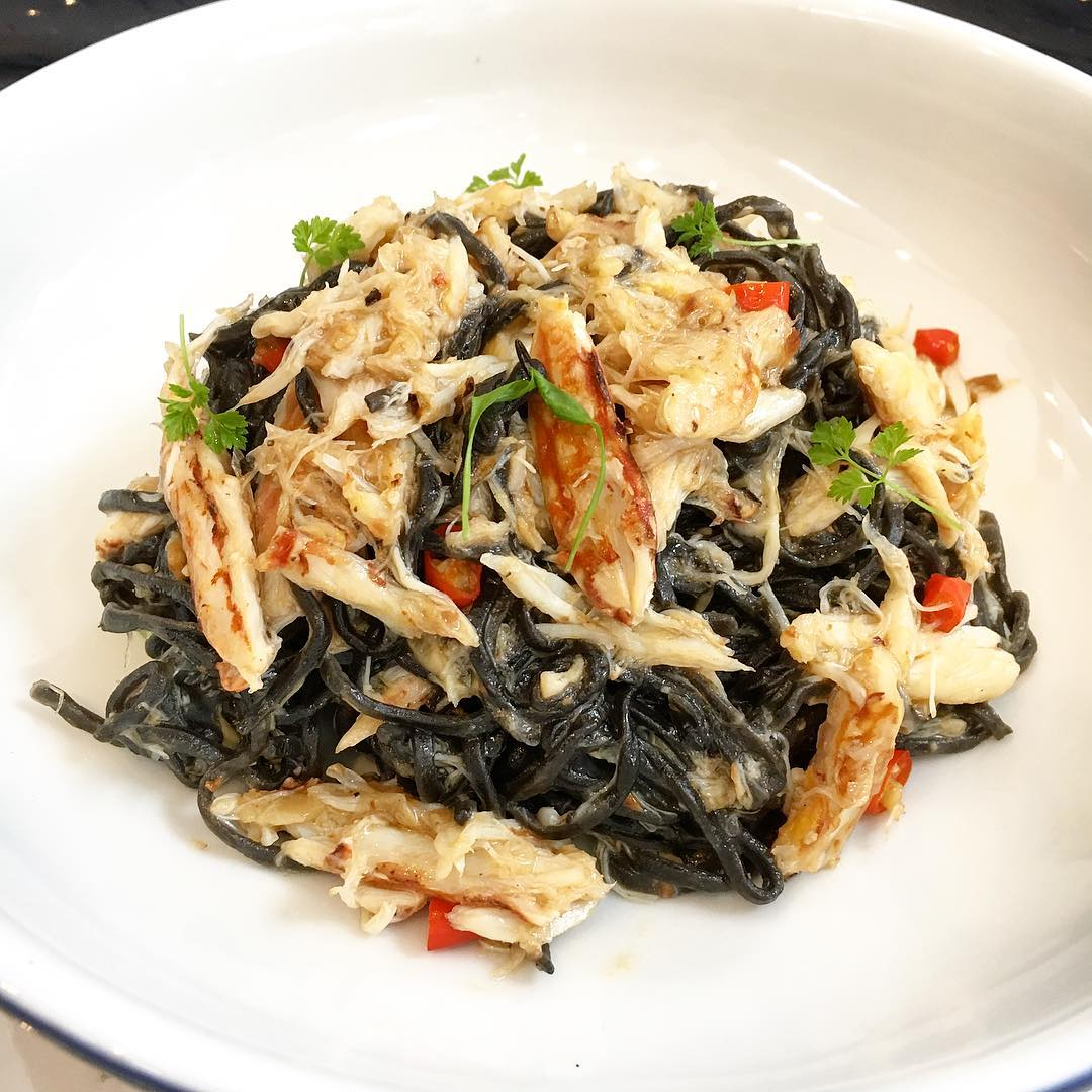 Try out squid ink pasta with the Granchio at Strong Flour!