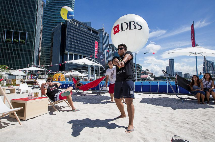 Beach Volleyball at Singapore's first urban beach