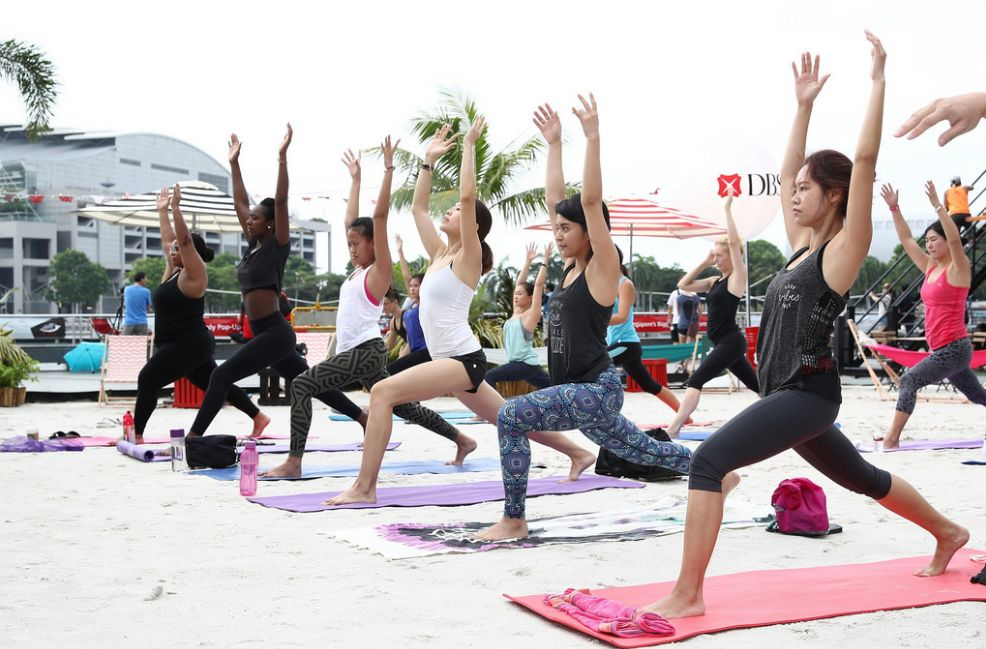 Lululemon yoga at DBS Marina Regatta