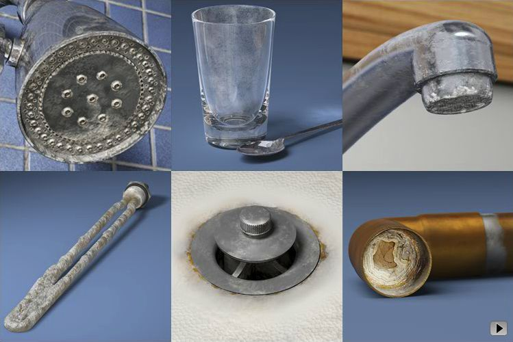 Stains caused by mineral deposits in hard water