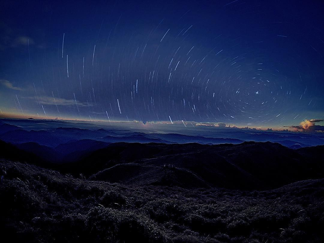 Capture star trails on a clear sky from Mount Pulag