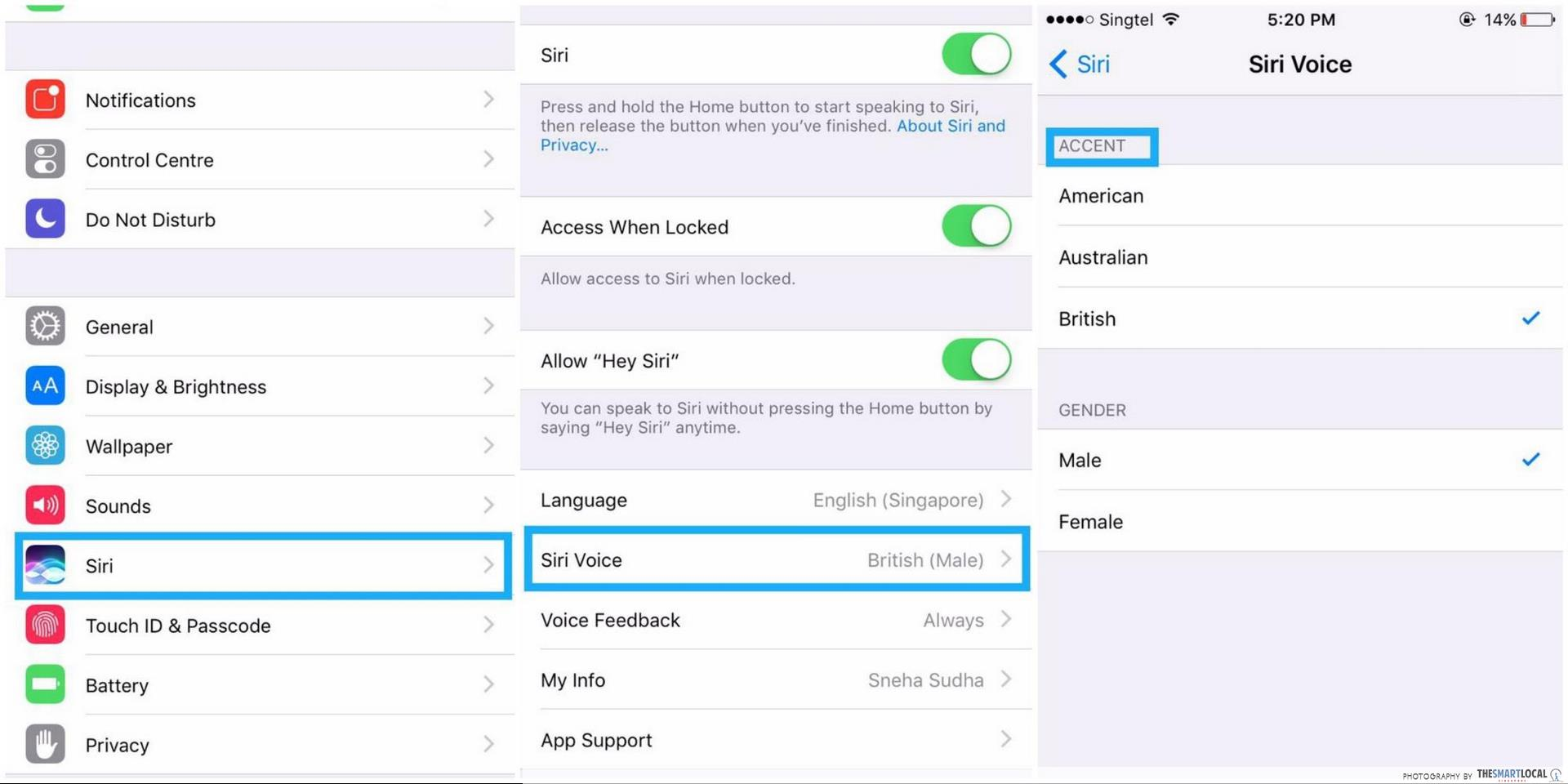 how to make siri speak in a different accent