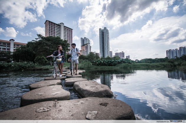 stepping stones across the river at bishan amk park