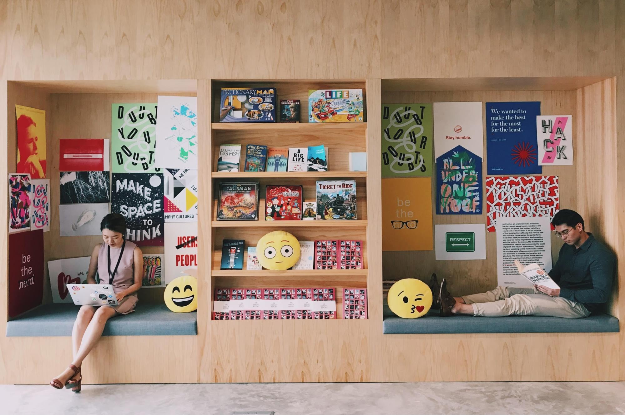 Colourful work spaces at Facebook Singapore office
