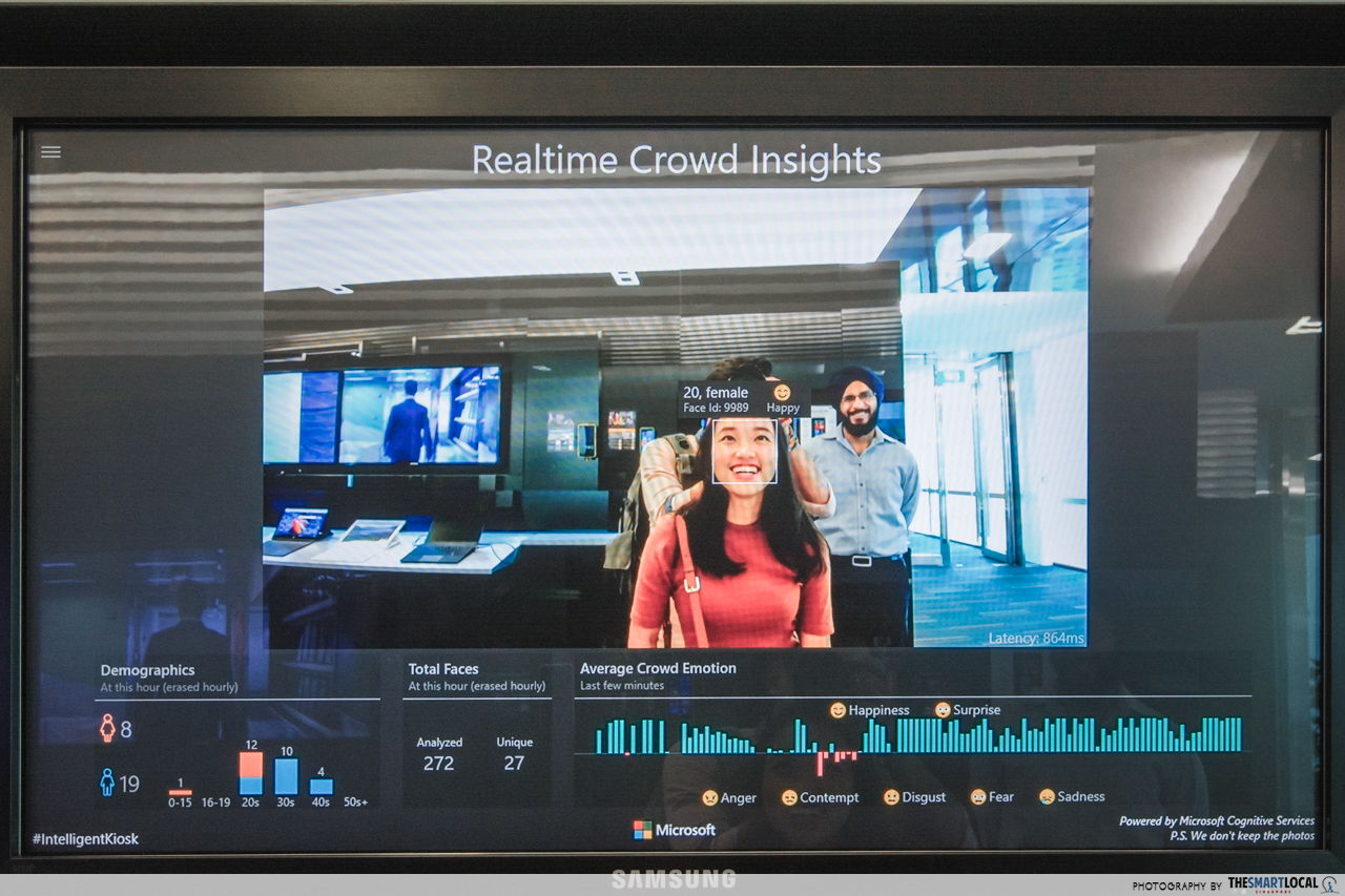 Facial recognition and other gadgets at Microsoft Singapore office!