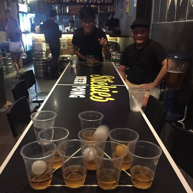 Stickies bar games beer pong cheap beer tower