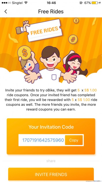 obike tips bike sharing refer friend free ride