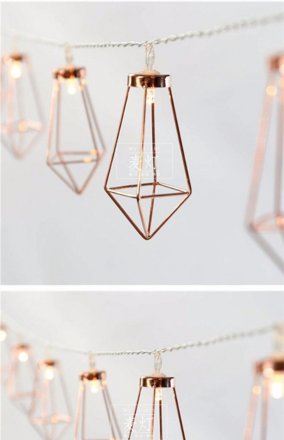 fairy lights gold caged