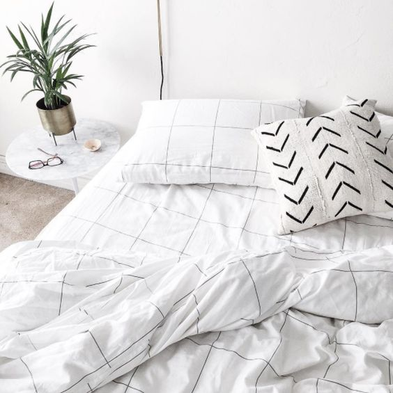 grid white black bedding taobao