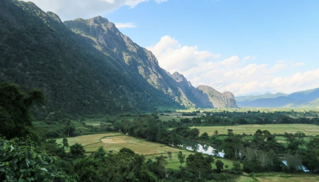 views of vang vieng from the top