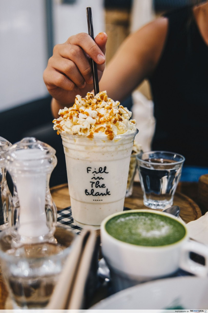 fill in the blank cafe popcorn milkshake
