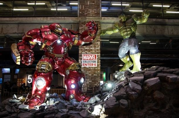 Marvel characters at the cinema's display,
