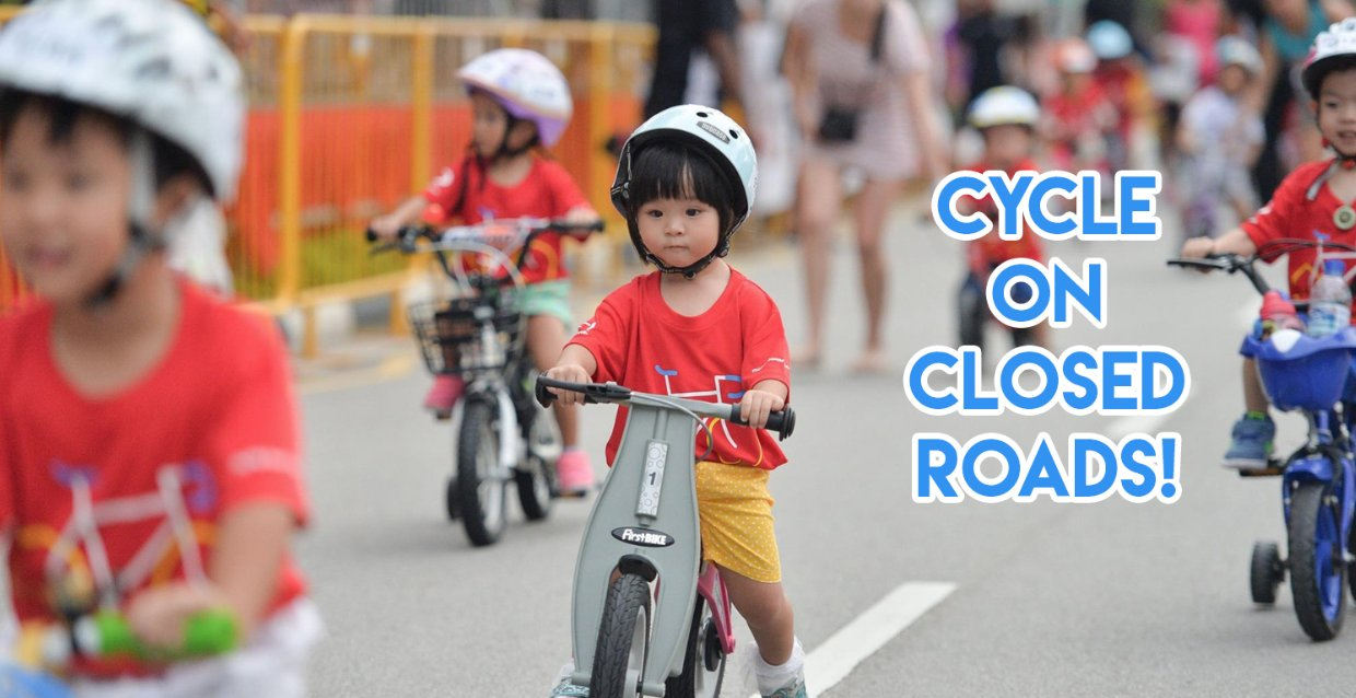 OCBC Cycle Is A Mass Cycling Event For The Family With Super Hero Shirts & Bubble Blowing Machines