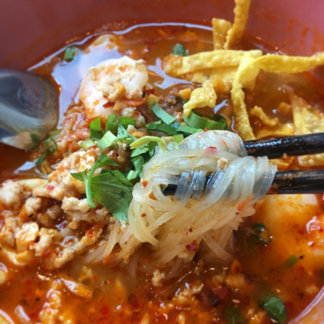 Tom yum broth from Tiew Mai Thai Boat Noodles