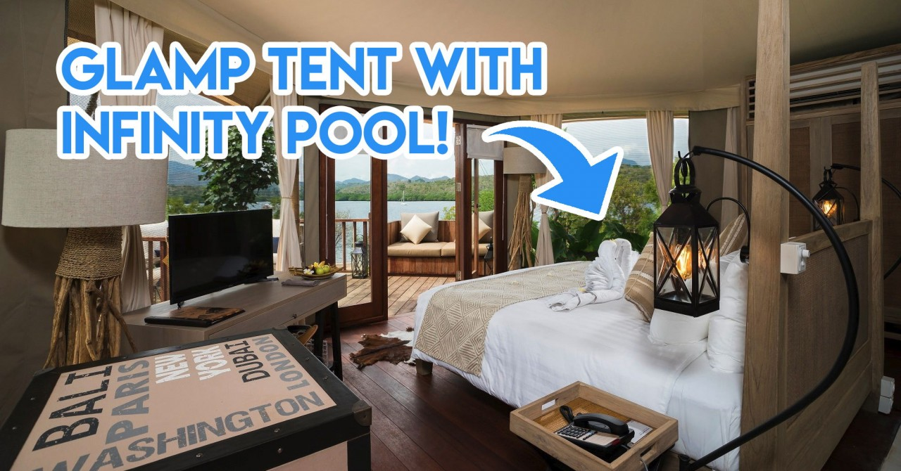 glamp tent indonesia with infinity pool
