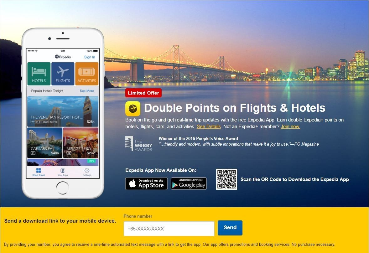 Expedia mobile app double points