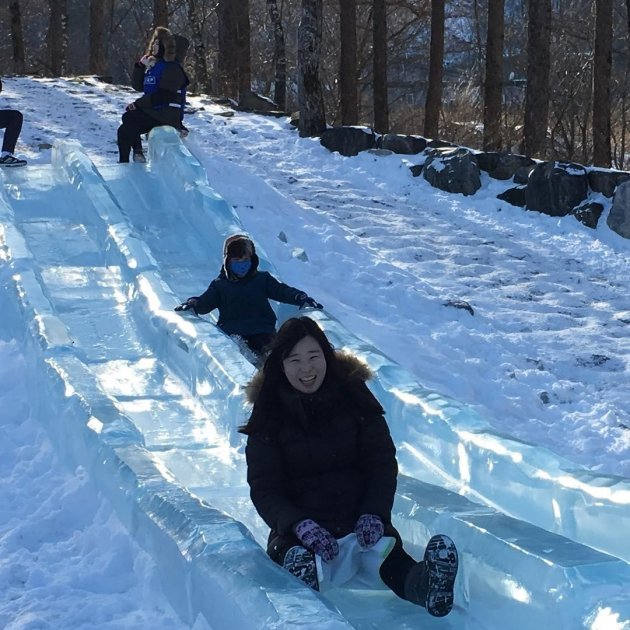 ice slides and snow tunnels