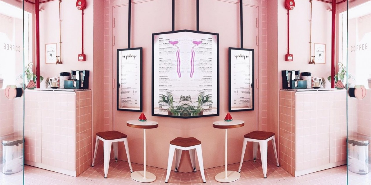 A juicery millennial pink juice cafe pastel