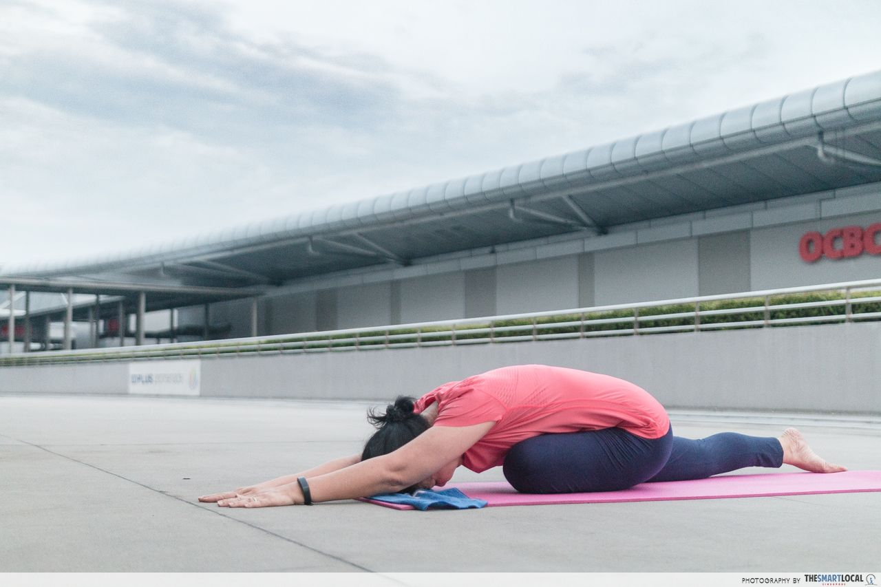 Nancy Loh doing yoga
